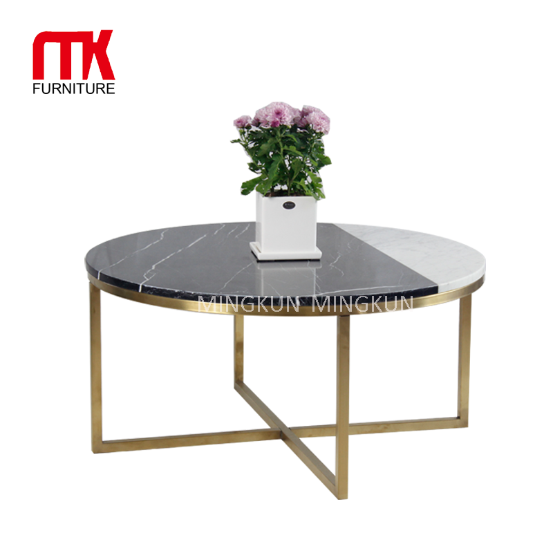 Marble Top Coffee Table Set With Golden Metal Legs Buy Modern