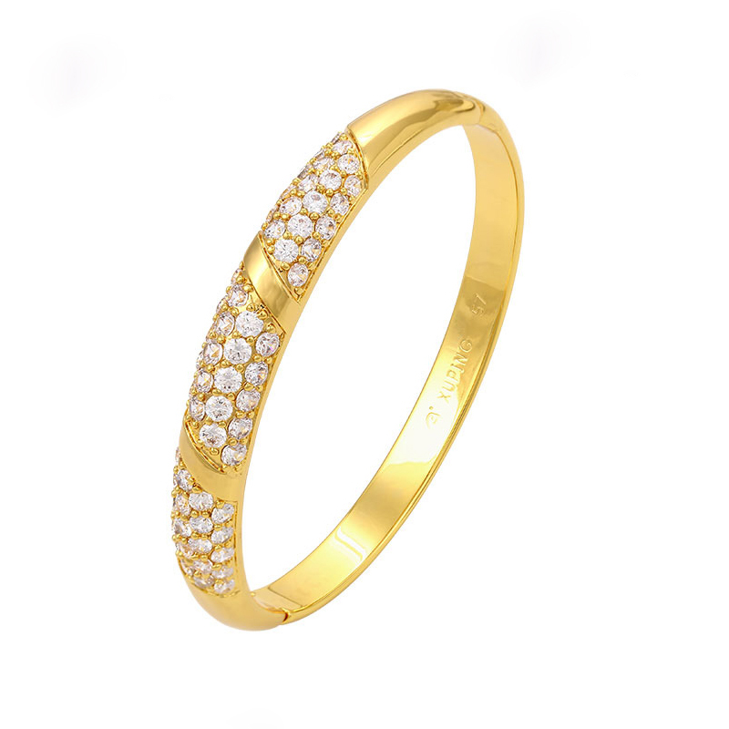 Alibaba.com / Xuping imitation jewelry cheap wholesale gold plated zircons bangle bracelet