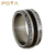 POYA Jewelry Mens Titanium Ring Inlay Meteorite and Wood Wedding Rings