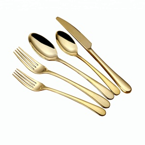 dubai knife and fork spoon gold cutlery set ,titanium pvd coating luxury gold flatware