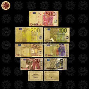 Wr 24K Gold Plated Euro Banknote Set of 7PCS Colored 5 - 500 Euro Bill Paper Note Edition