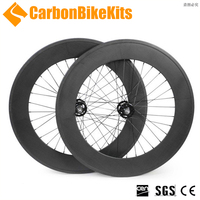 Full carbon CarbonBikeKits TW88C track carbon wheels,88mm clincher wheel set for fixie bikes