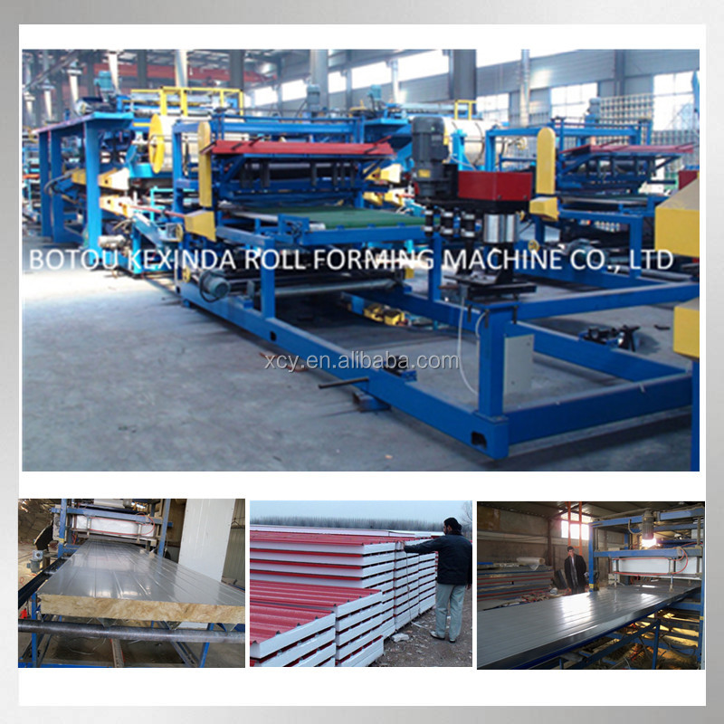 Rock wool eps wall panel line product , aluminium composite panel machinery, continuous sandwich panel production line