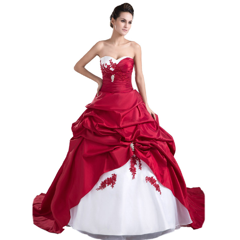 Cheap Red White And Gold Wedding Dresses, find Red White And Gold ...