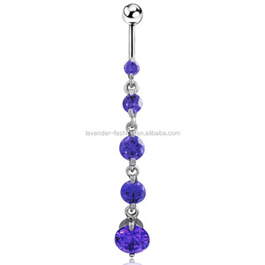 Allergy 316L Surgical Steel belly rings 3A multicolor zircon belly bottom rings