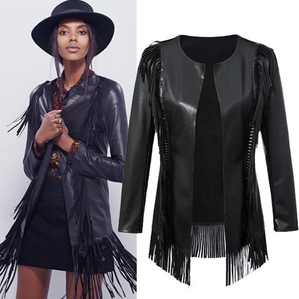 MS71914L Women black color fashion jackets without zipper coo leather jacket with fringe