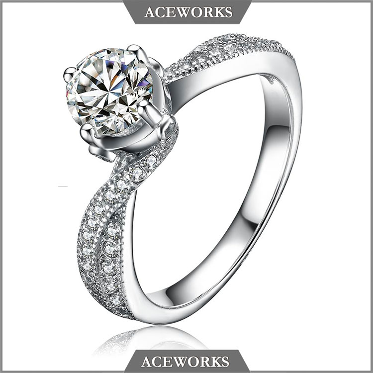 RN1209 Aceworks 2017 fashion zircon engagement ring 925 sterling silver wedding band ring