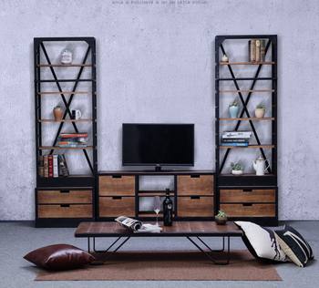 industrial loft style living room furniture tv cabinet and shelf
