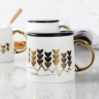 Zogift Printing Ceramic Cup Gold Shape Heart Leaves Gold Handle Porcelain Mug of 400Ml Tea Coffee Milk Cup