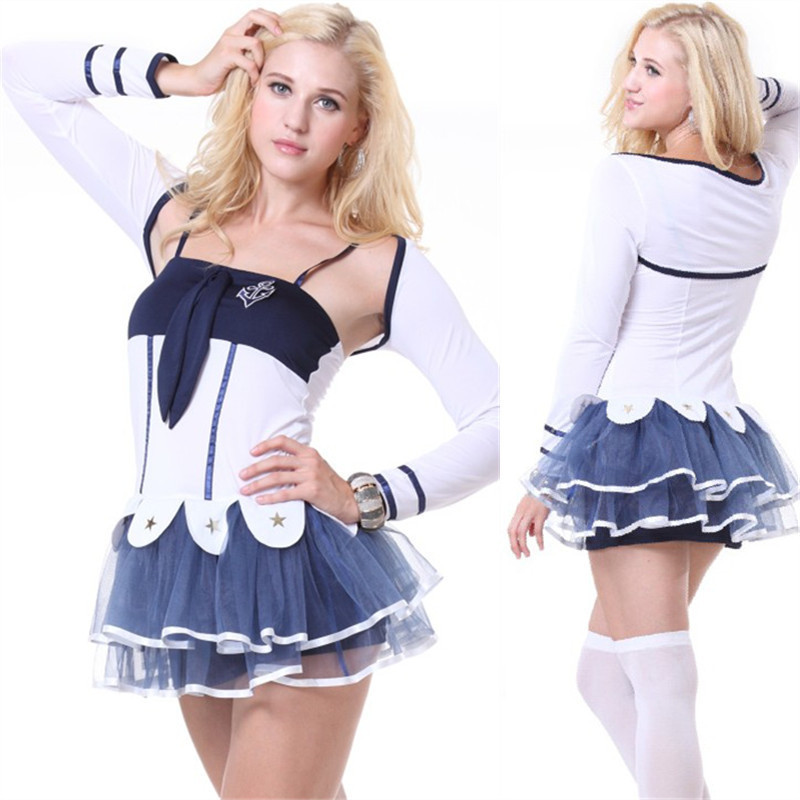 New Arrival Halloween Masquerade Woman's Navy Sailor Cosplay Costumes Role Play Dress Navy White Lace Skirt Uniforms H158530