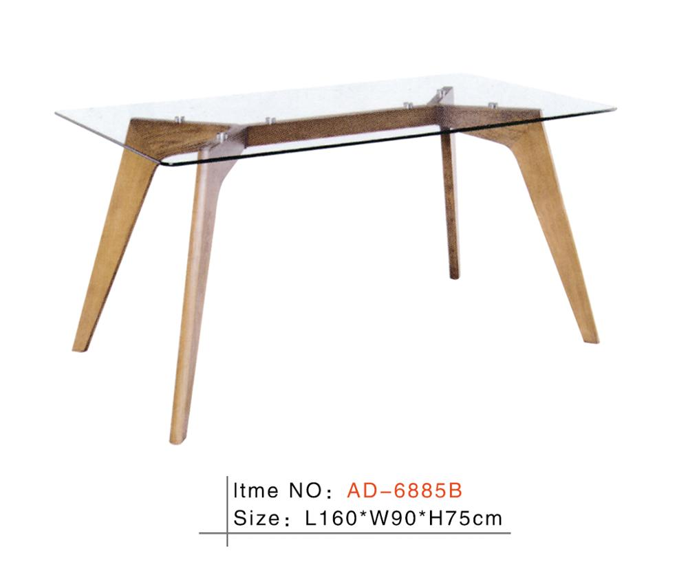 2017 hot sell wooden frame glass top dining table