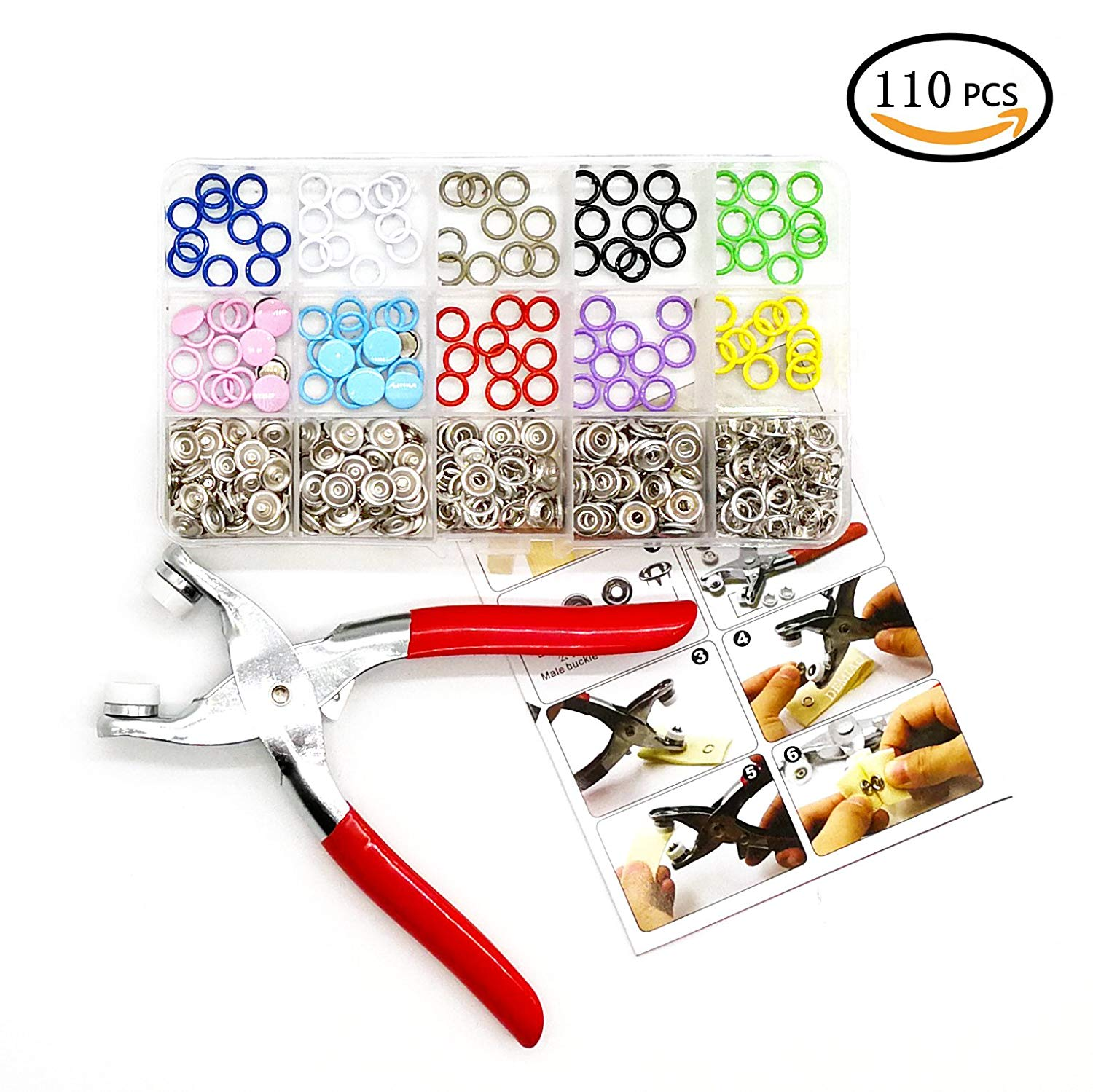 Zivisk Snap Button with Fastener Snap Pliers, 110 Sets Hand Pliers Setting Tool, Metal Ring Button Sewing Craft Snap Setter Craft Tool 9.5mm