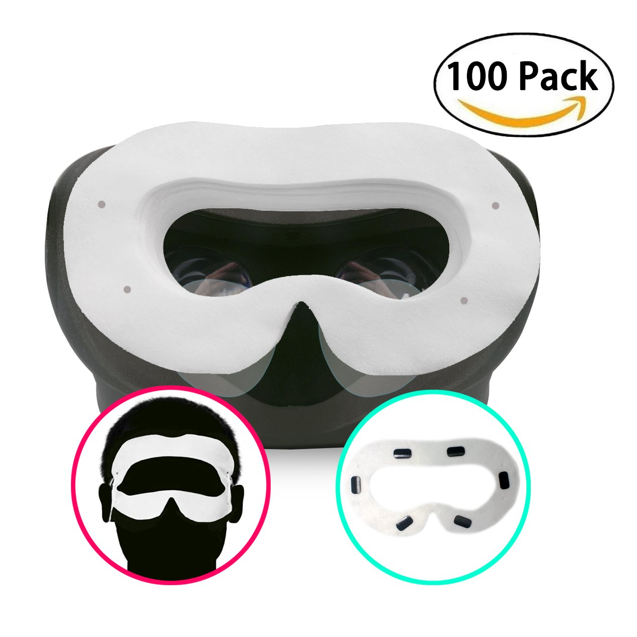 T&B Disposable Oculus Rift CV1 VR Mask 2 Ways To Use Hygiene White Replaceable Blinder Replacement Accessories for Oculus Rift Virtual Reality Headset 100 Pc