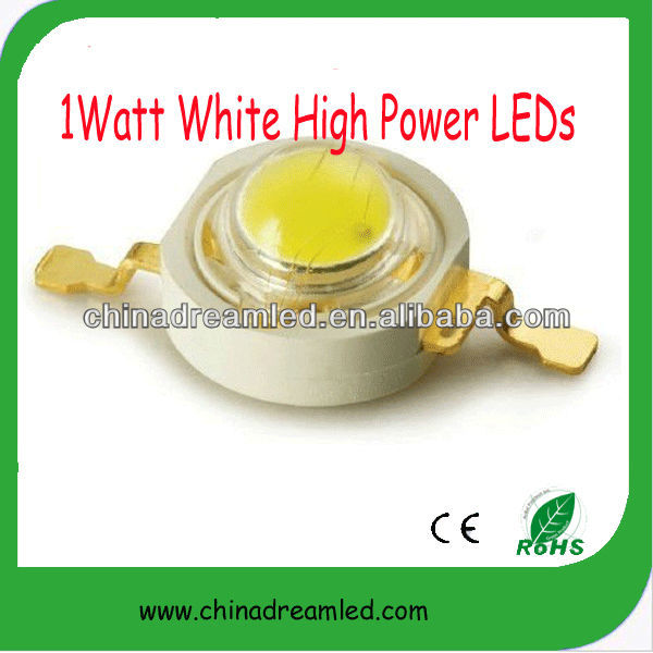 china manufacturer Hot Promotion projector lamp's 1watt LED, 1watt white high power LED 120-130lm 350mA ( Epistar 35mil chip )