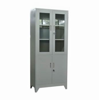 Top Glass Bottom Metal Swing Door Display Cabinet Steel Filing