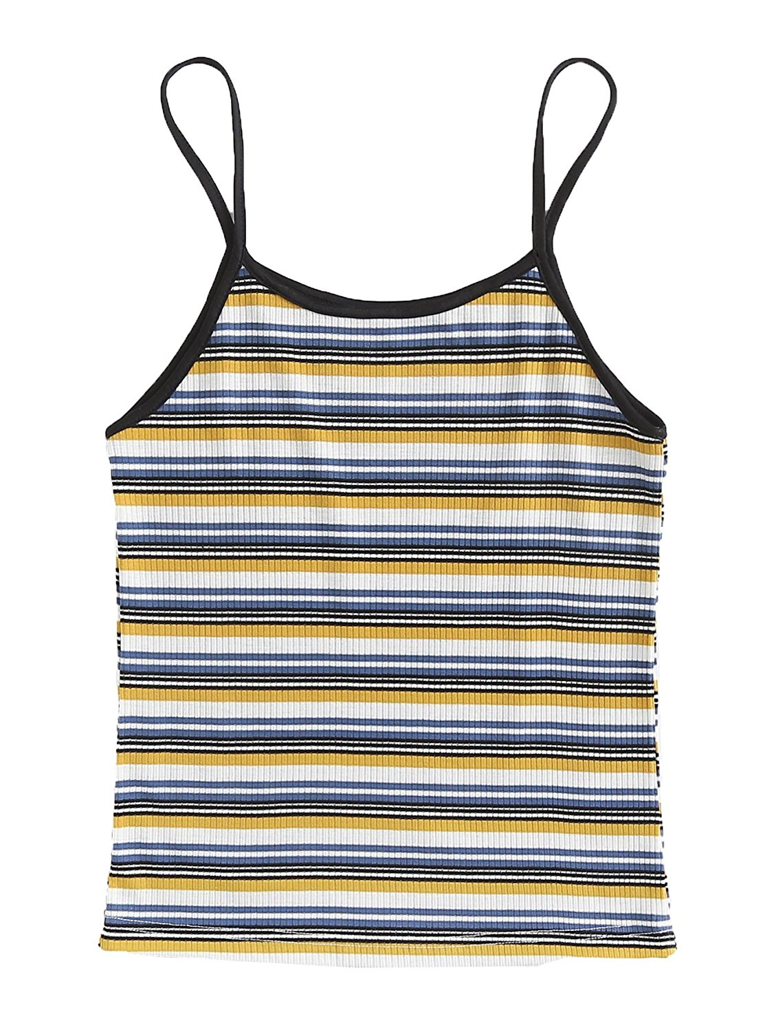 7e293ed14fe2 Get Quotations · MakeMeChic Women's Spaghetti Strap Camisole Striped  Racerback Cami Tank Tops