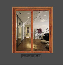 Commercial Double Brown Wood Frame Design Tempered Glass Doors