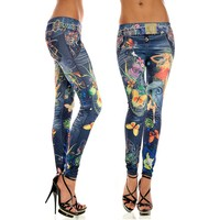 Professional Wholesale new fashion ladies sexy blue floral print leggings