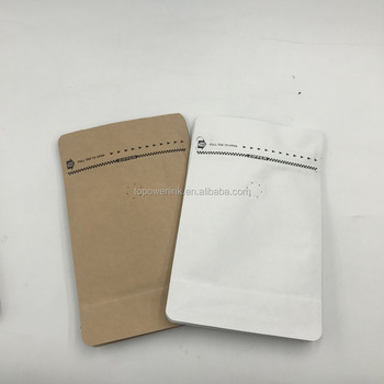 Inventory foil lined kraft paper coffee bags biodegradable / Reusable zip lock coffee bag with degassing valve