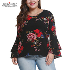 Wholesale Women Floral Print Bell Sleeve Plus Size Tops