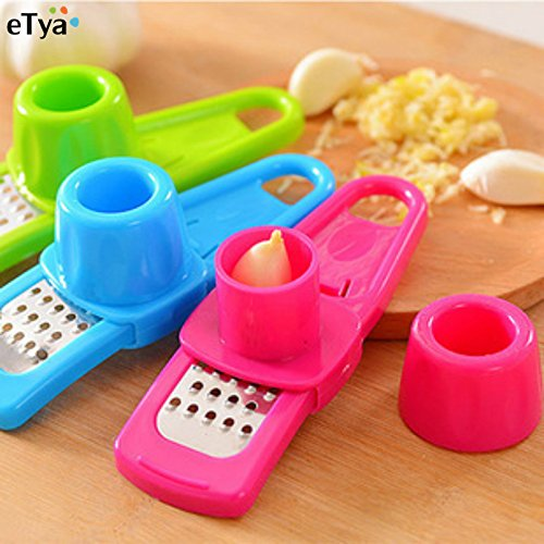 PET TOLAND - Practical Home Kitchen Garlic Presses Cutter - Mini Garlic Grinder - Creative Manual Garlic Ginger - Garlic Planer Slice Chopper - Garlic Grinding Hand Tool - COLOR RANDOMLY SEND