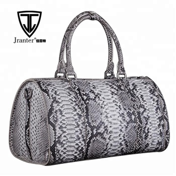 Updated new fashion mens genuine python snake skin leather weekend travel duffle bag