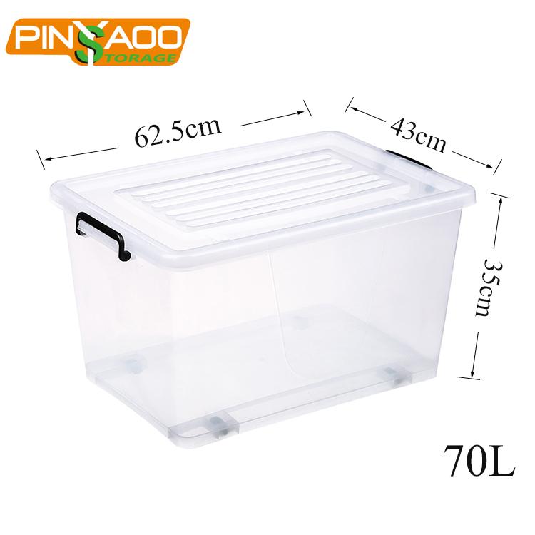 70L स्पष्ट पारदर्शी बड़े प्लास्टिक कपड़े भंडारण कंटेनर ढक्कन के साथ ढोना बिन बॉक्स