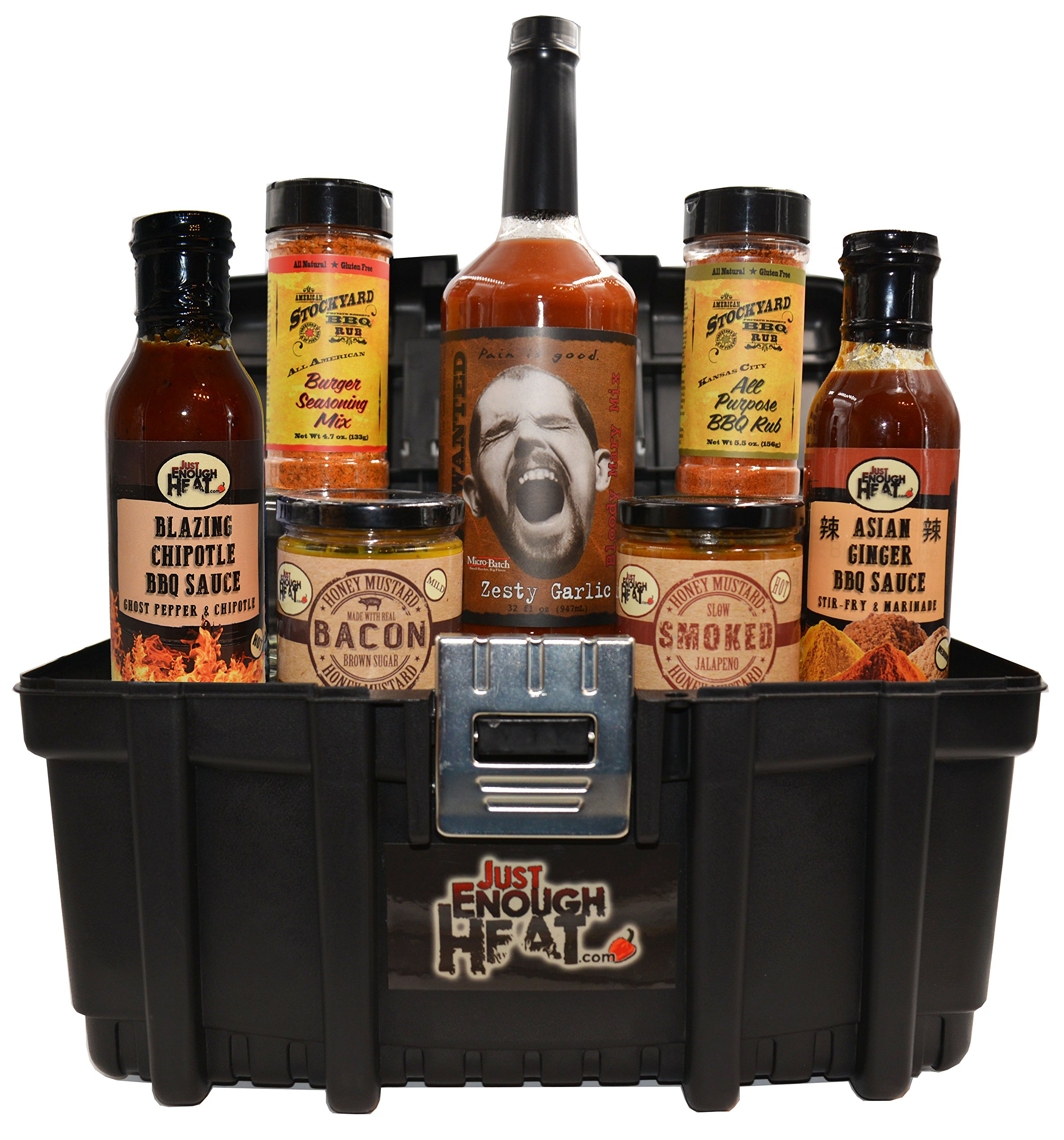 be6e7ad3fa50e Get Quotations · BBQ Sauce Toolbox Gourmet Gift Set - Barbecue Food Basket  for Men   Women by Just