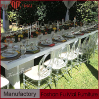Romantic wedding banquet white crystal event rental acrylic chairs