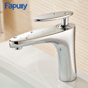Fapully Ceramic washing basin Hot and cold one handle bathroom wash basin faucet
