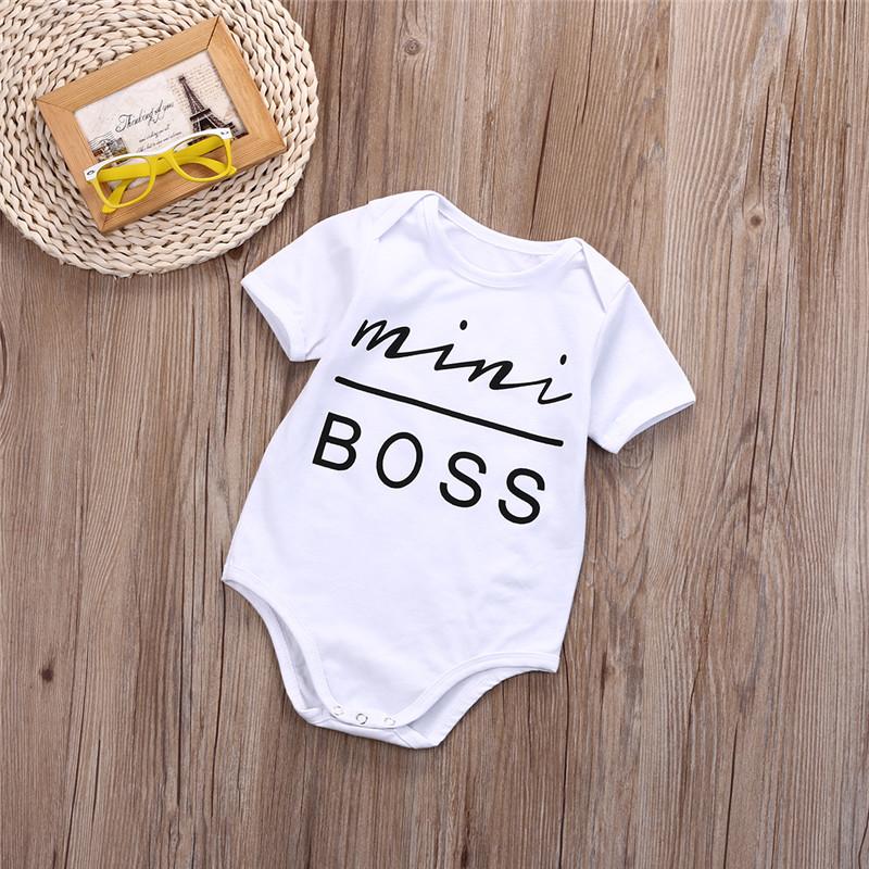 New Boss Babygrow Bodysuit Romper Vest /& Feeding Bib /& Hat Cap 0-12m Funny Gift