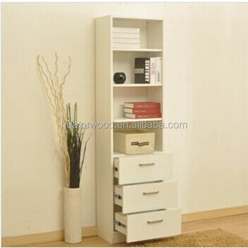 HX MZ735 China Cheap Office Furniture Three Drawers Wooden Narrow Bookcase