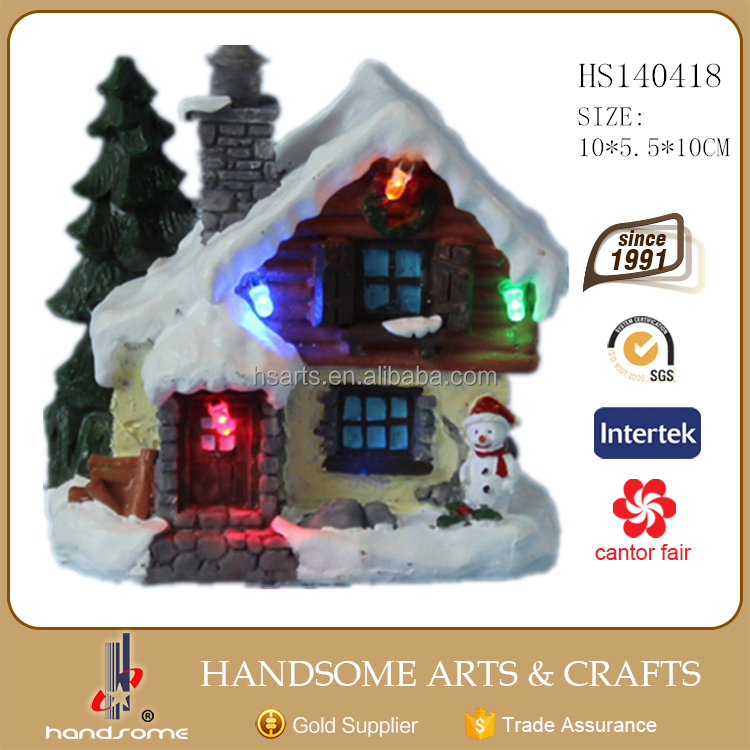 "4"" indoor resin fiber optic christmas decoration house"