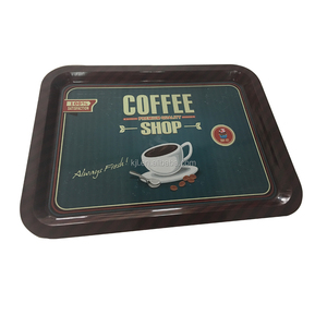 Rectangle Slate Metal Serving full color printed Tray, For Serving Drinks & Snacks, Centerpiece for Coffee Table