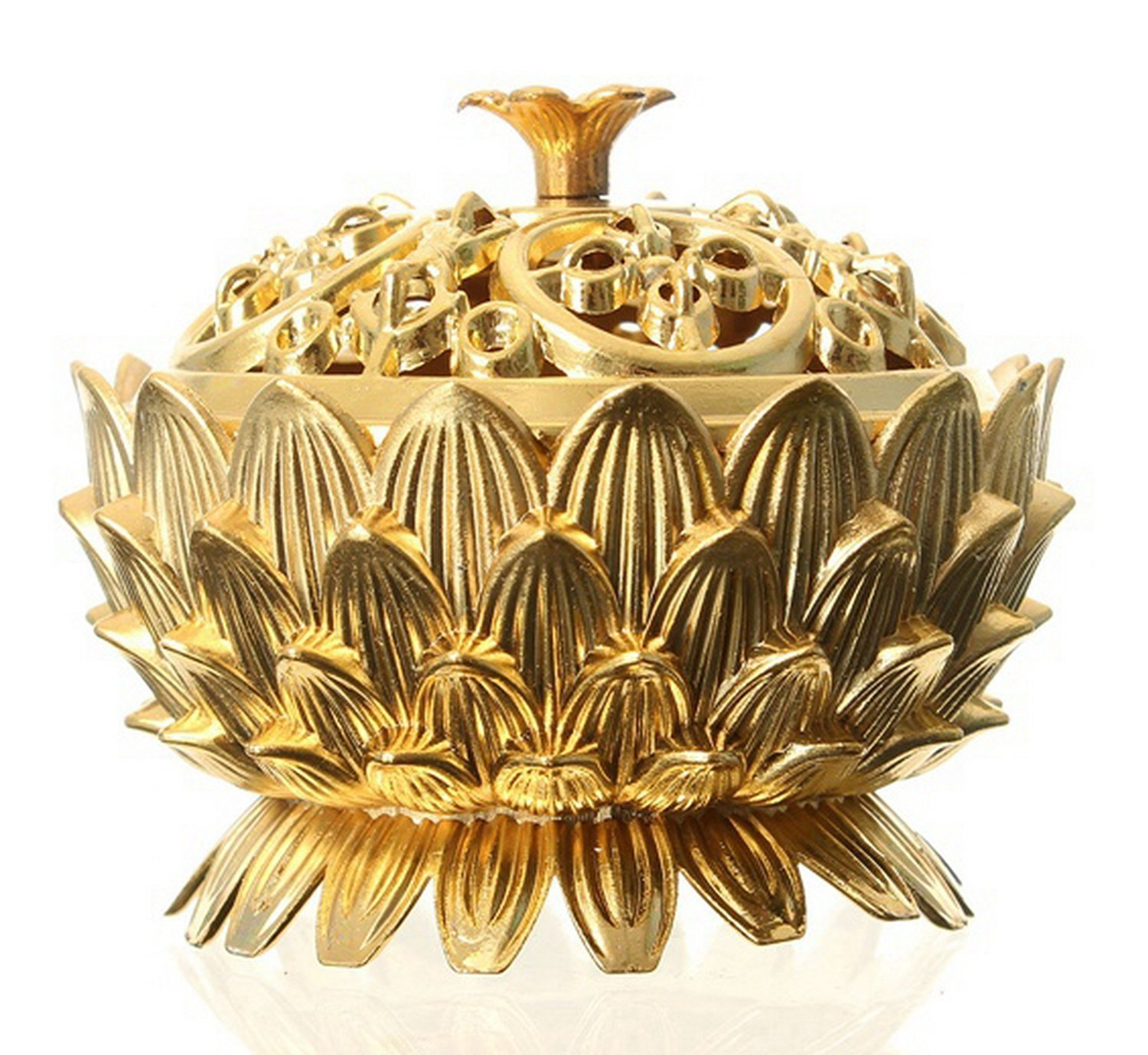 Incense Burner Lotus Flower Classical Tibetan Alloy Mini Sandalwood Censer