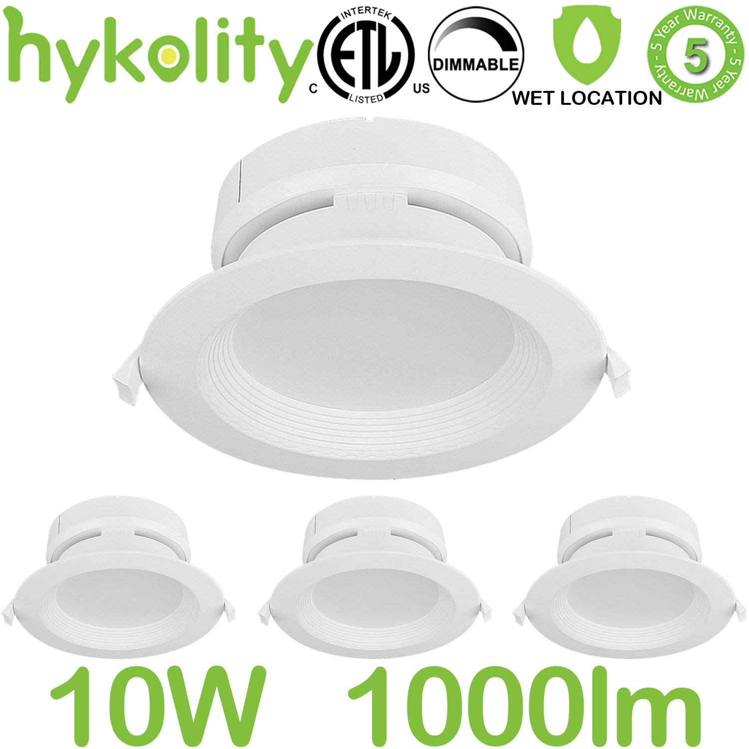 Hykolity 4 Inch LED Recessed Downlight Kit with Junction box, 10W 1000lm 5000K Daylight Dimmable Remodeling LED downlight kit, 120V-277V, Airtight& IC Rated Wet Location, ETL&Energy Star- 4 Pack