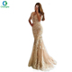 2018 Sexy Girls Long Sleeve Champagne Lace Appliques Mermaid Evening Gown