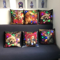 "LED Lighting Cotton Linen Decorative Cushion Cover for for Sofa Home Decor 18 X 18"" Christmas Dog Cat Pillow Case"