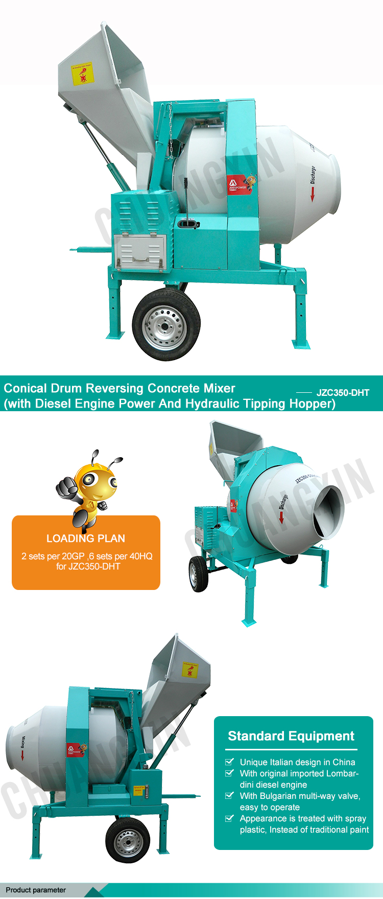 Professional manufacture conical drum reversing self-loading concrete mixer