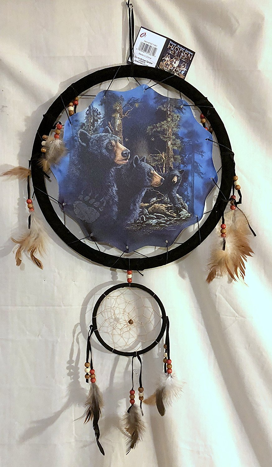 "DC1377 NEW 14 HIDDEN BEARS IN FOREST DREAM CATCHER MANDALA FEATHERS & BEADS 13"" X 28"""