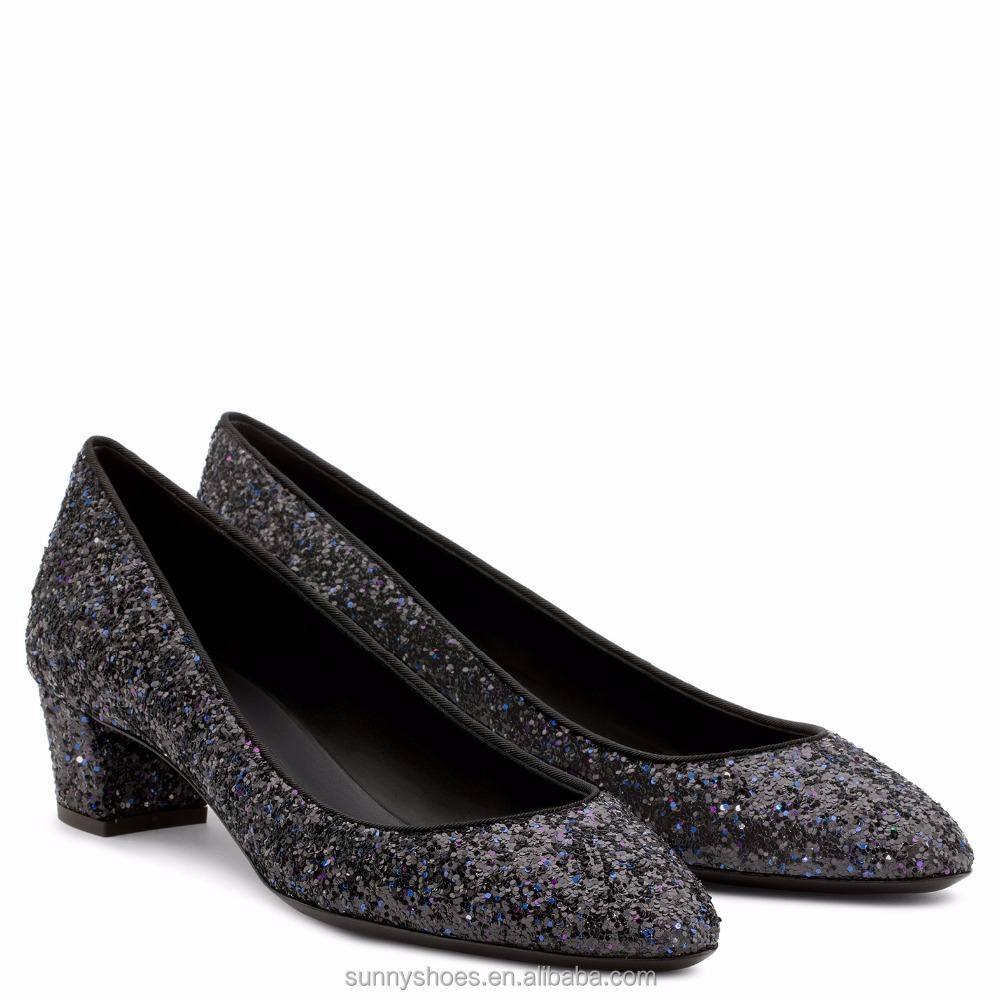 fashion on slip block new ladies 2017 heel glitter shoes women 7w4EA