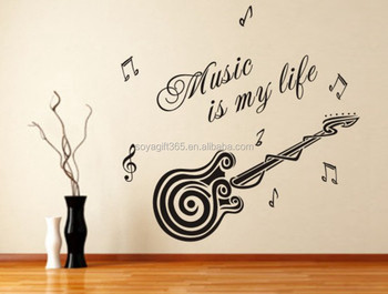 Music Is My Life Words Guitar Pattern Vinyl Decal Wall Sticker Home Decor