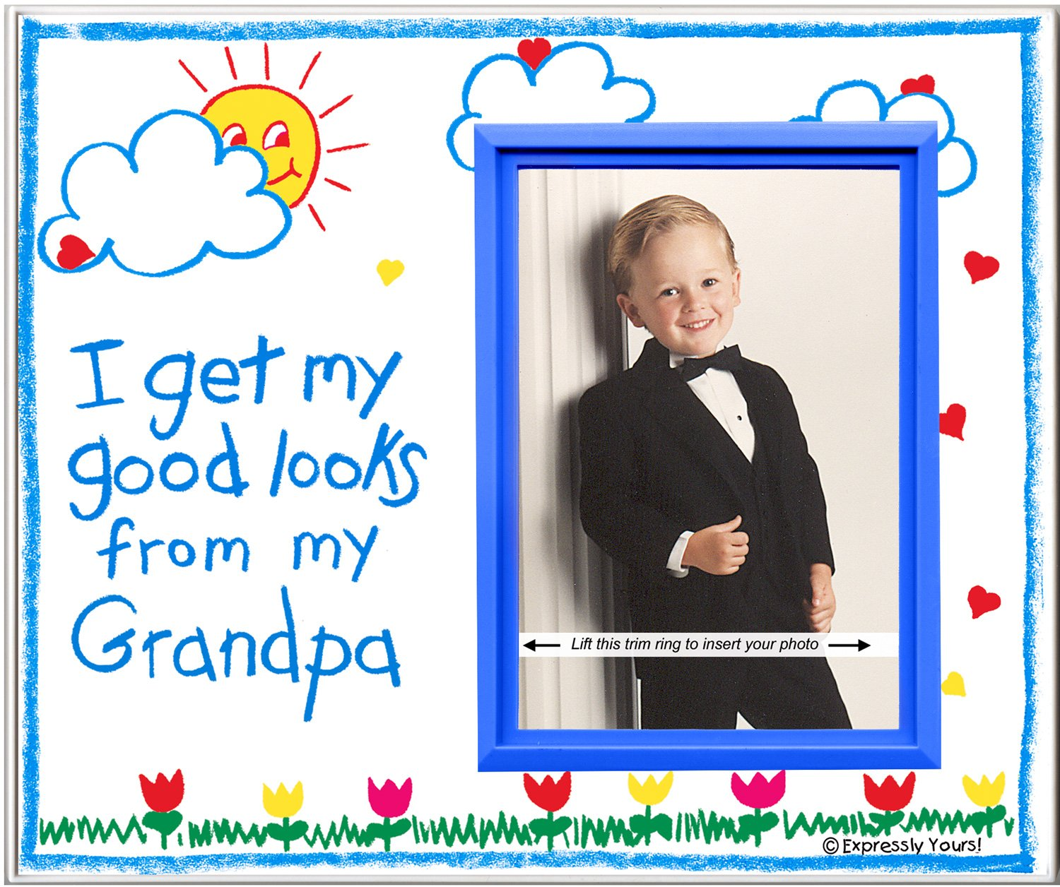 Grandpa Picture Frame | Affordable, Colorful and Fun | Holds 3.5 x 5 Photo | From Boy or Girl | Innovative Front-Loading Design | Crayola Theme