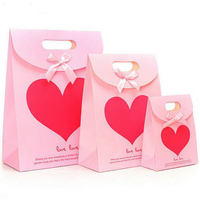 2016 New Product Rose Red Heart Paper Gift Bag Goodie Gift Bags Baby Shower Party Birthday Wedding New Year Gift Decoration Bag