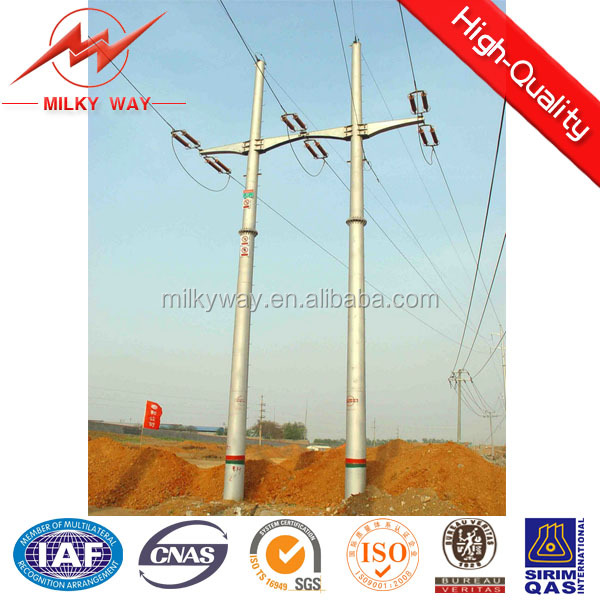 11kv &33kv conical or polygonal hot dip galvanization electric wooden poles power distribution