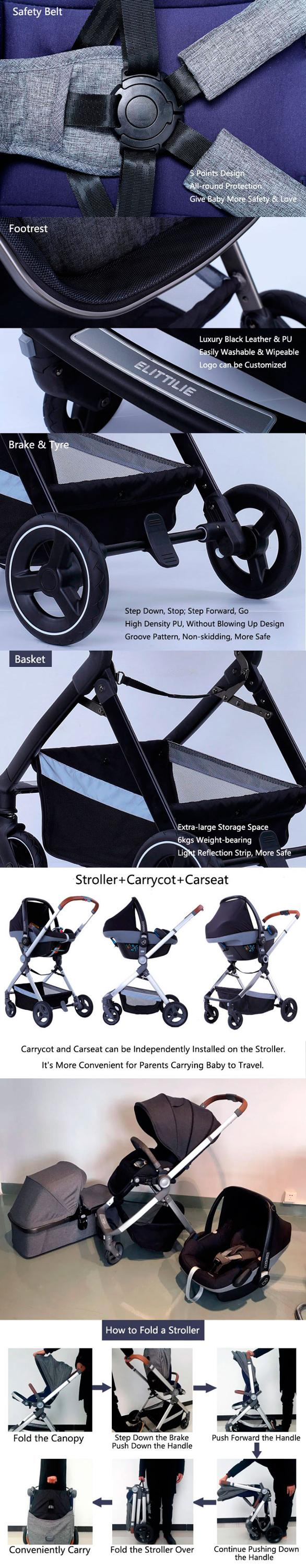 Premium  new  style baby pram  3 in 1 and  2 in 1baby stroller leather baby  stroller