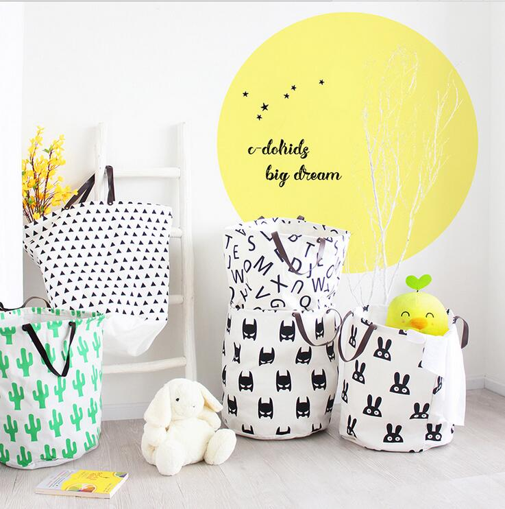 DM 871 Children Toy Bucket Leather Hand Tote Cactus Pattern Print Laundry Canvas Storage