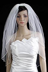 Bridal Wedding Classic Veil White 2 Tiers Fingertip Length Pencil Edge by Velvet Bridal