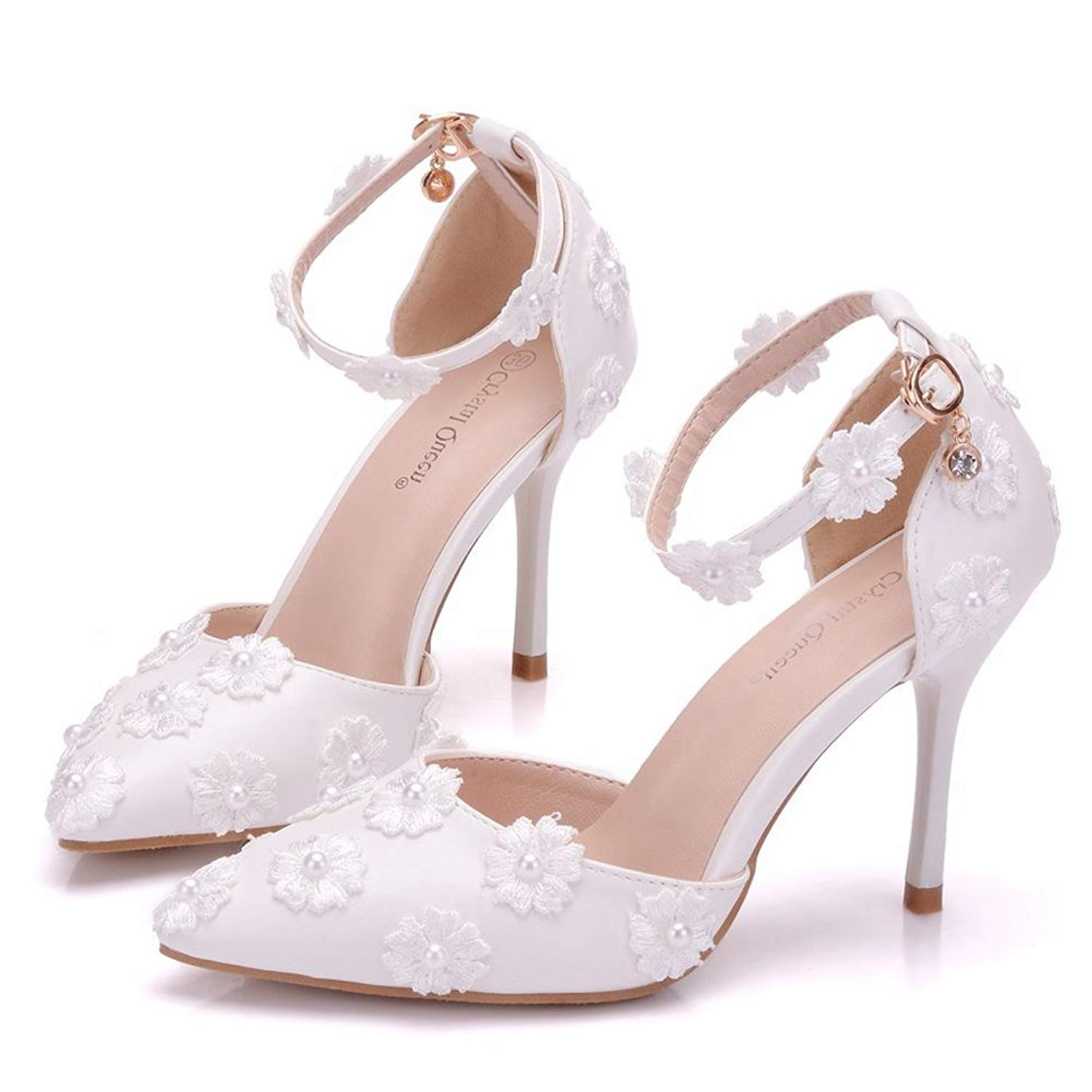 Get Quotations · Crystal Queen Bridal Shoes Thin Heels Sandals Pointed Toe  High Heels Women Pumps White Lace Wedding 337f66f4f26b
