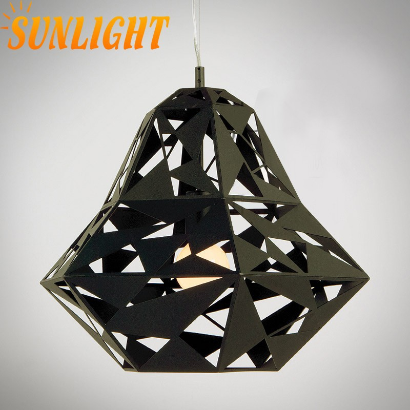 modern industrial Artistic Hollow-out black and white iron diamond indoor pendant lamp/lighting for home